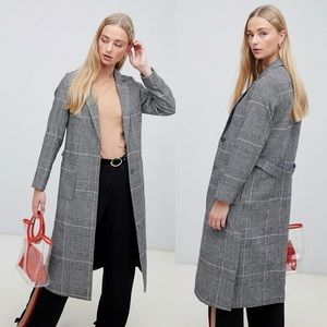 ASOS New Look | Check Bar Back Maxi Coat
